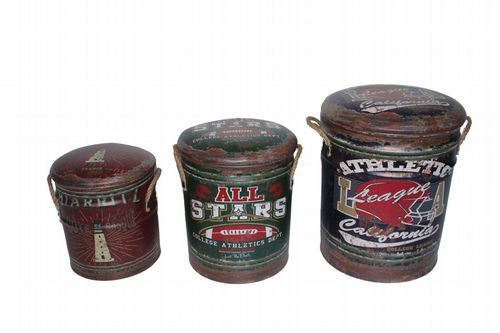 Athletics Set Of Three Metal Storage Stools